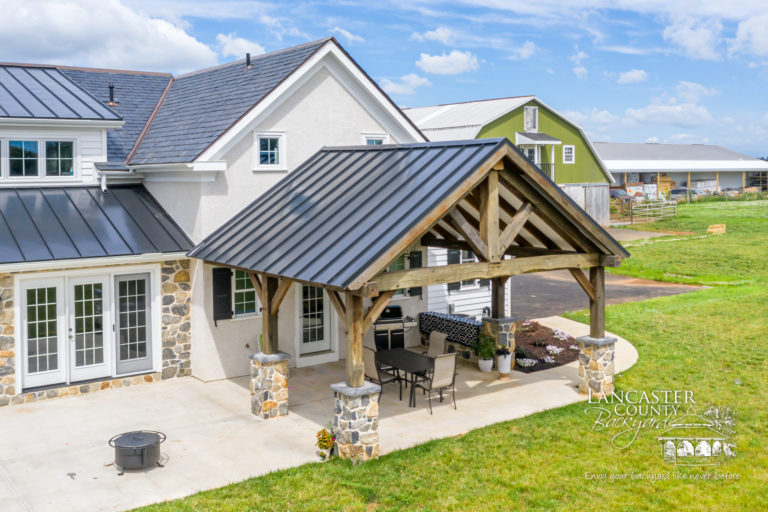 reclaimed timber frame kitchen and pavilion