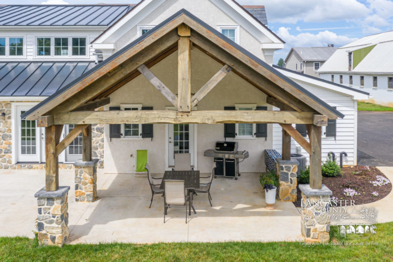 custom timber frame reclaimed kitchen and pavilion