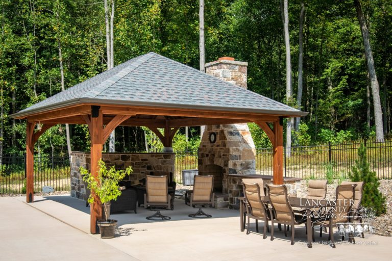 16x20 cheyenne outdoor wood pavilion with furniture