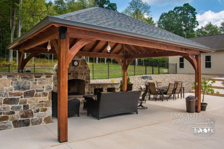 16x20 Cheyenne Wooden Pavilion with a kitchen