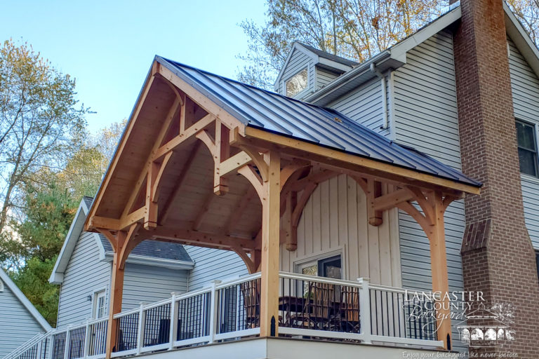 20x12 deanli timber frame pavilion built on porch