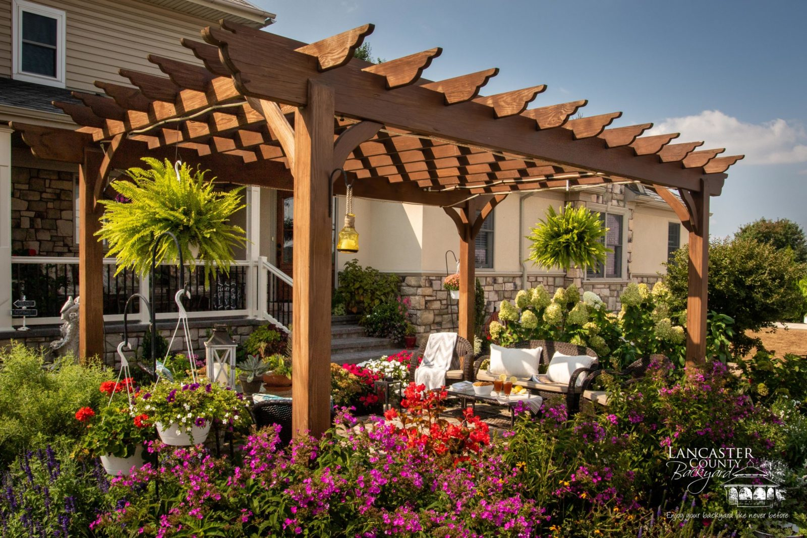 outdoor pergola made from wood