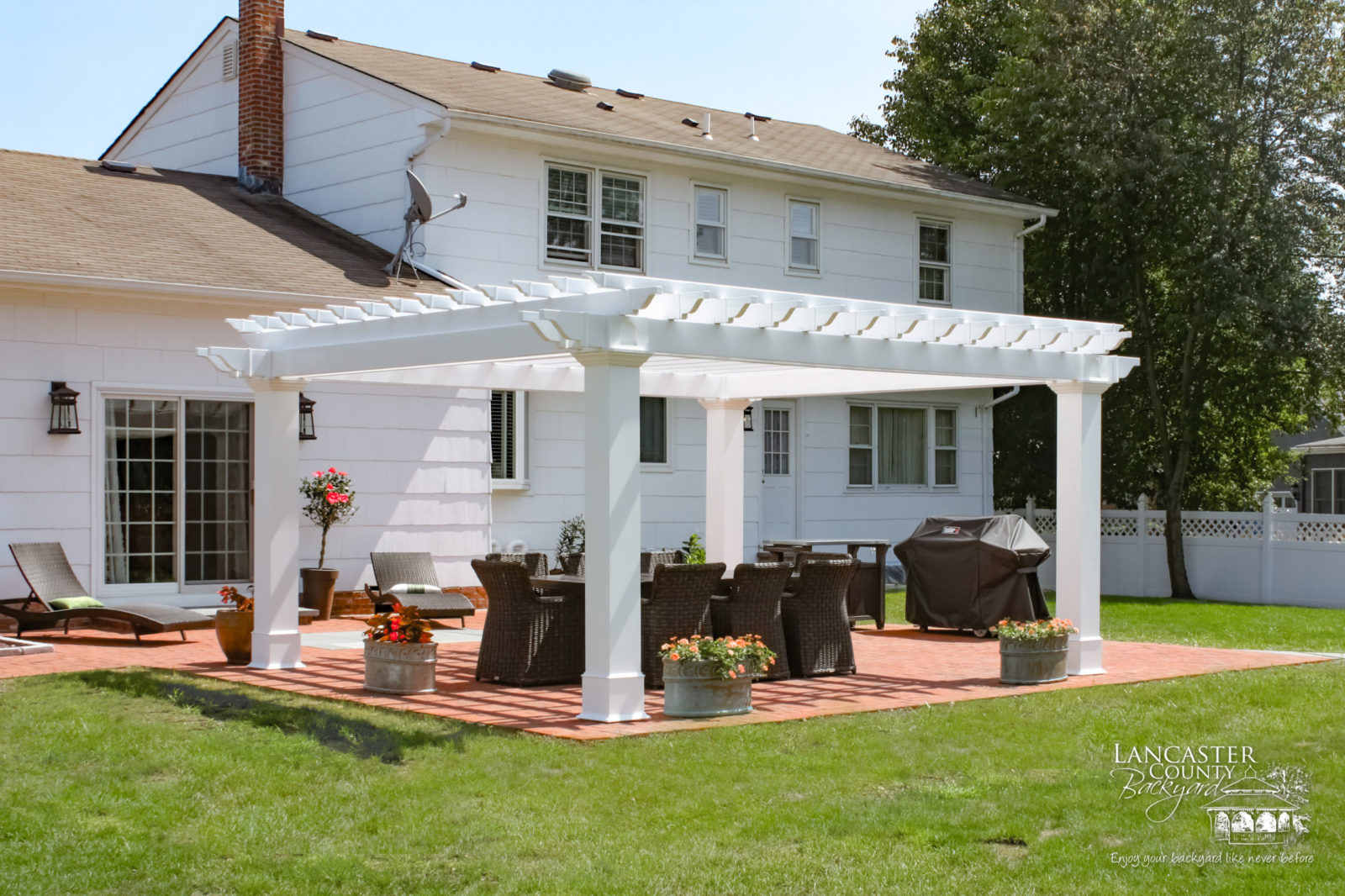 backyard pergola with grill