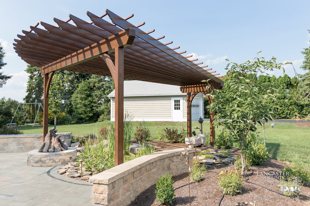 outdoor firepit under pergola
