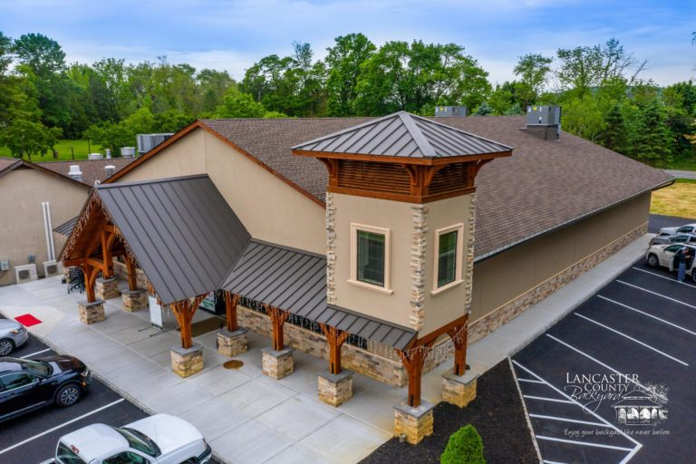 timber frame storefront in washington new jersey from the air