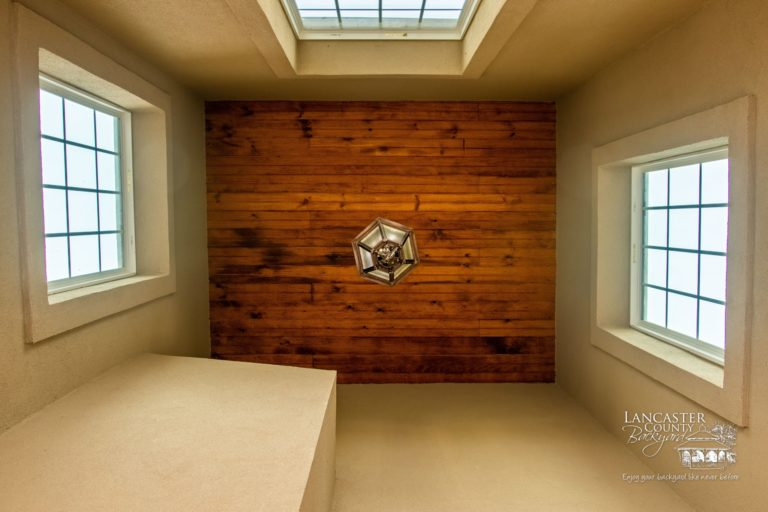 timber frame ceiling with ceiling light