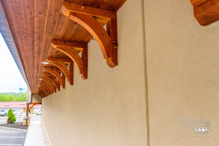 custom timber framing on the side of a store