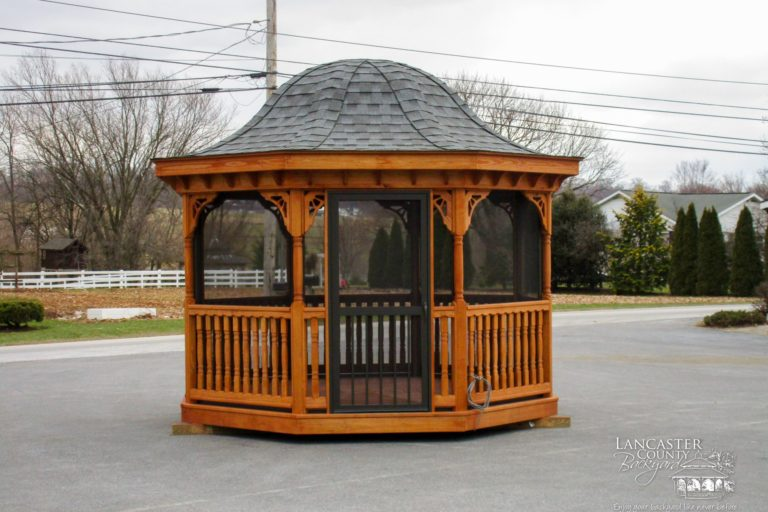 12' wood octagon gazebo with a wood bell roof