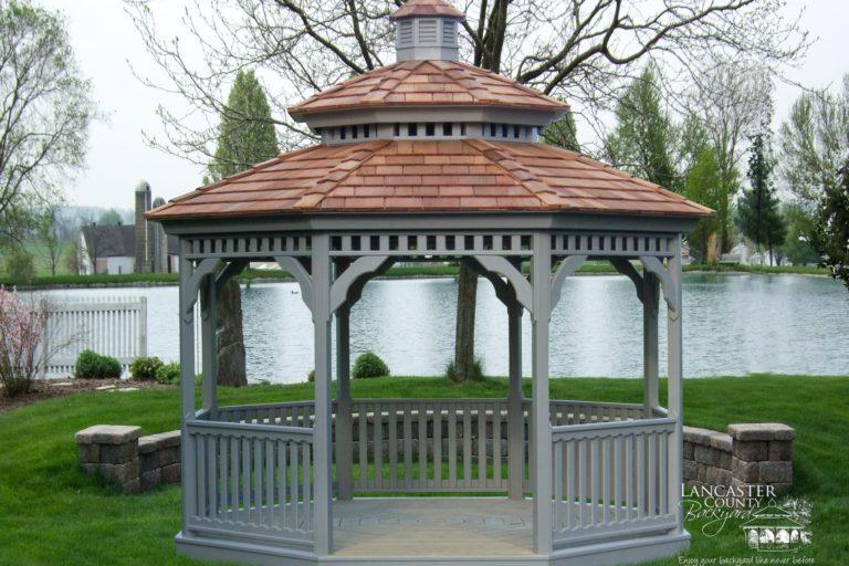 12' wood octagon gazebo, double roof