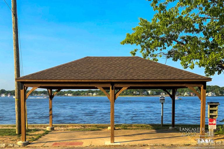 lakefront wood pavilion