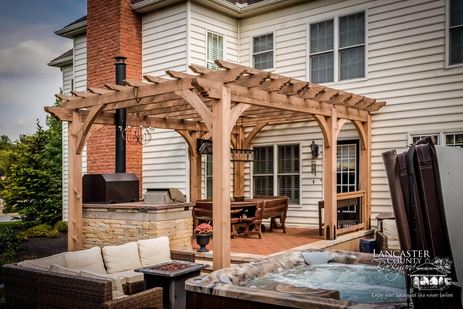 wooden outdoor pergola
