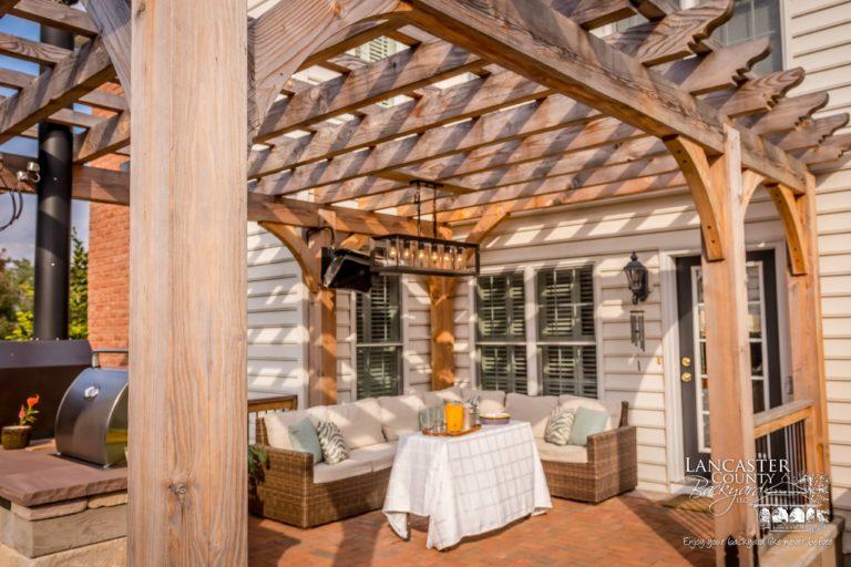 backyard wooden pergola