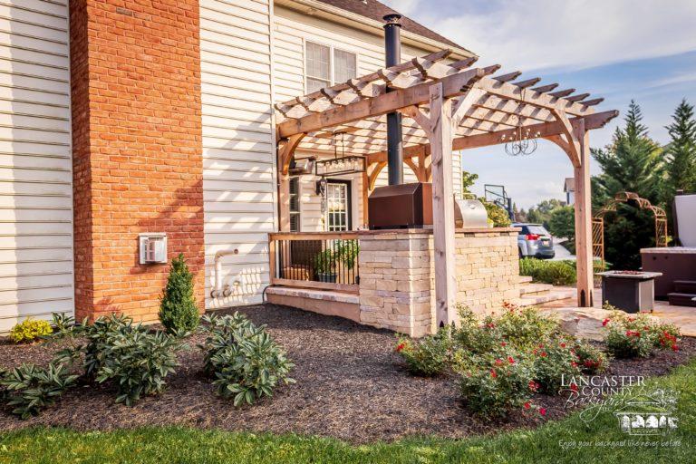 outdoor wooden pergola