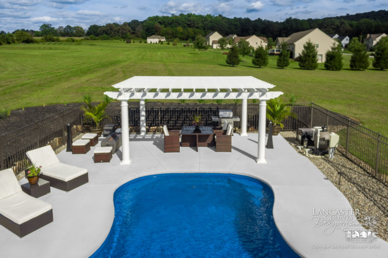 luxury poolside pergola for sale in mertztown pa