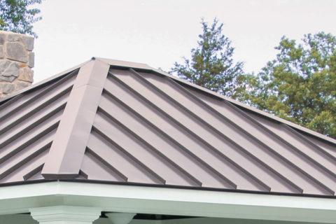 metal standing seam roof on custom pavilion