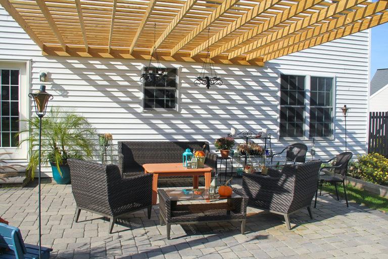 patio garden pergola attached to house