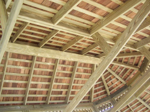 underside of roof of a wood gazebo