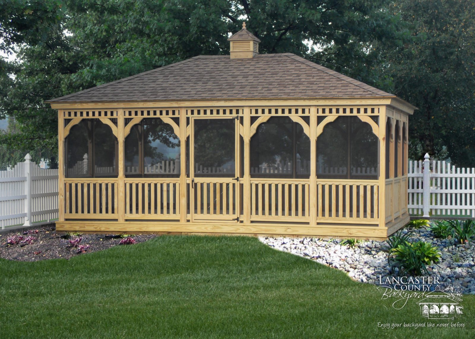 Amish built wooden rectangular gazebo