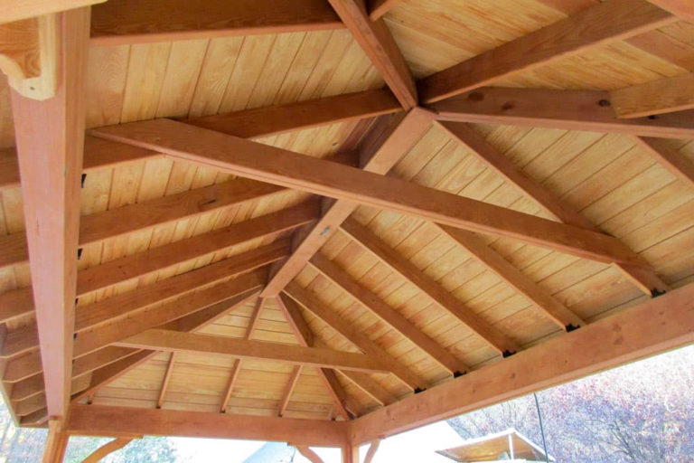 roof braces on a pavilion underside