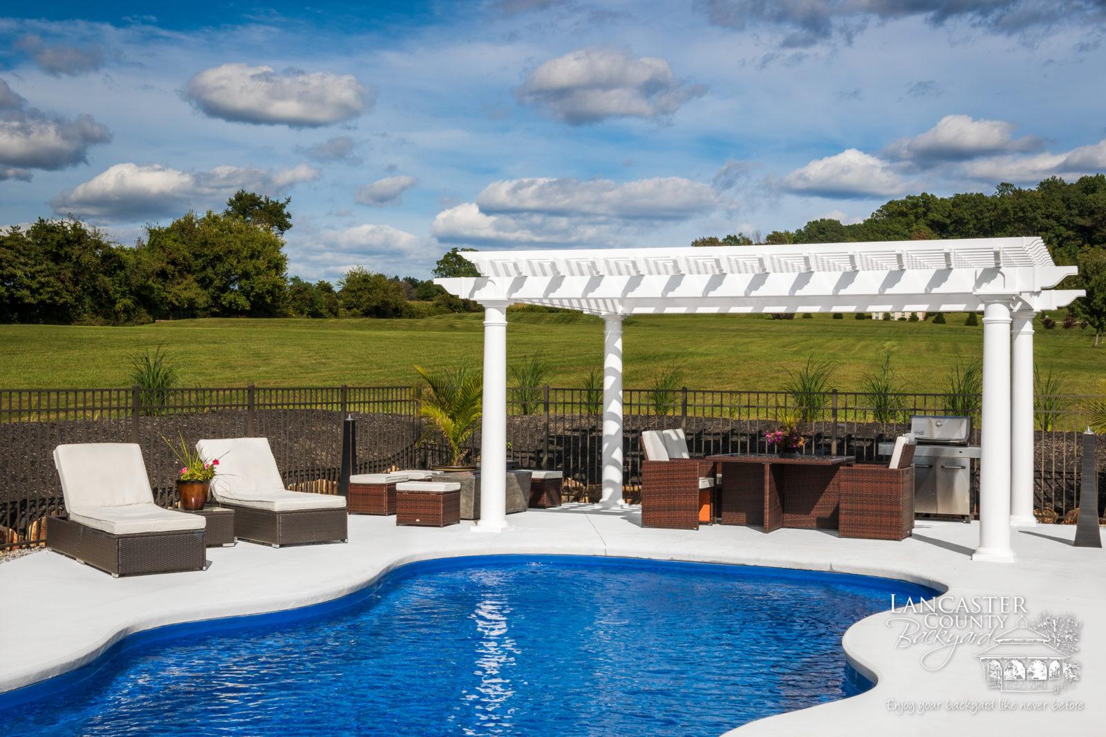 luxury poolside outdoor pergola for sale in mertztown pa