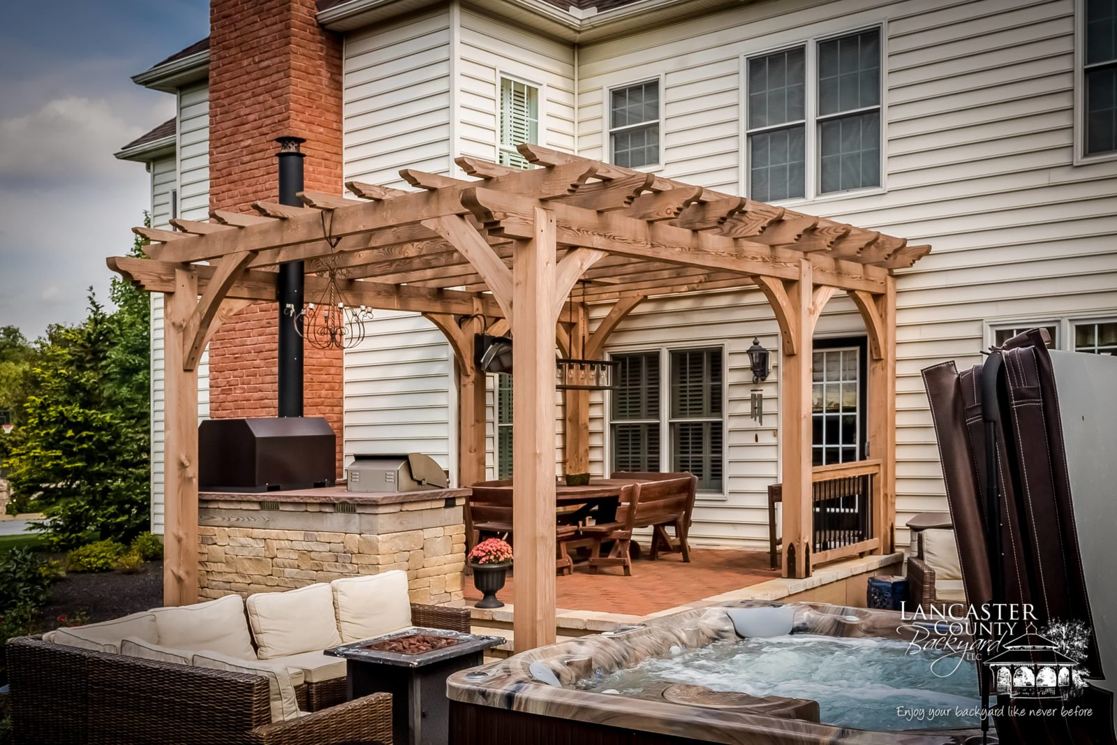 backyard pergola on a porch made from heavy wood