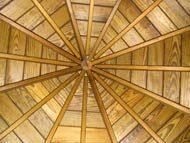 painted backyard gazebo ceiling with cedar shingles