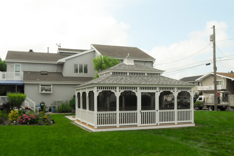 rectangle gazebo in backyard