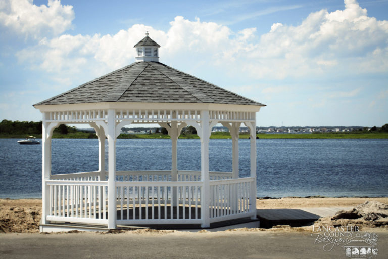 octagon gazebo by river