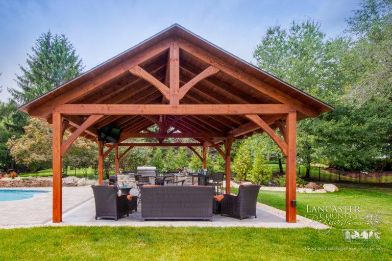 Kingston timber frame pavilion poolside