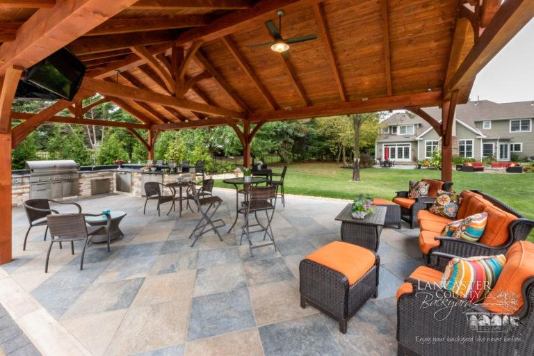 20x40 Kingston timber frame pavilion poolside
