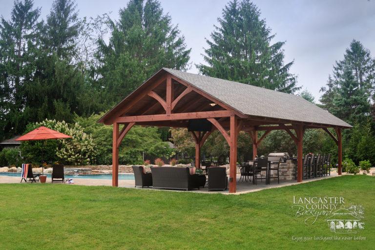 20x40 timber frame pavilion poolside