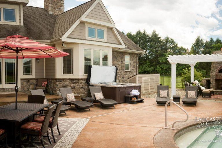 custom poolside pergola and pavilion