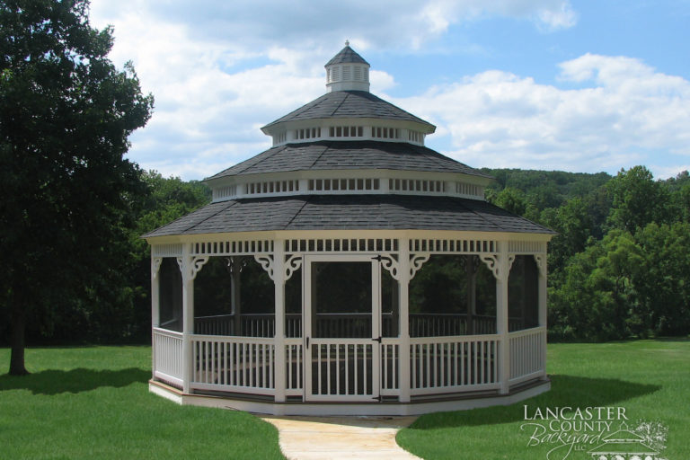 octagon gazebo in backyard structures