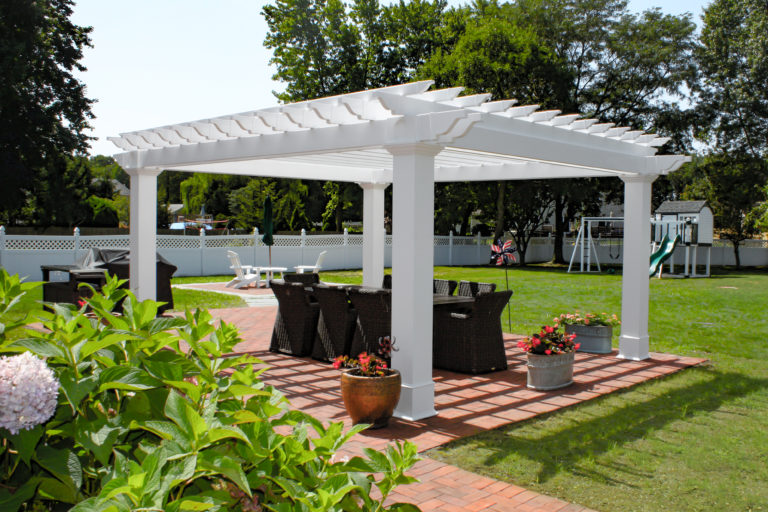 14x16 cancun vinyl pergola with upgraded columns