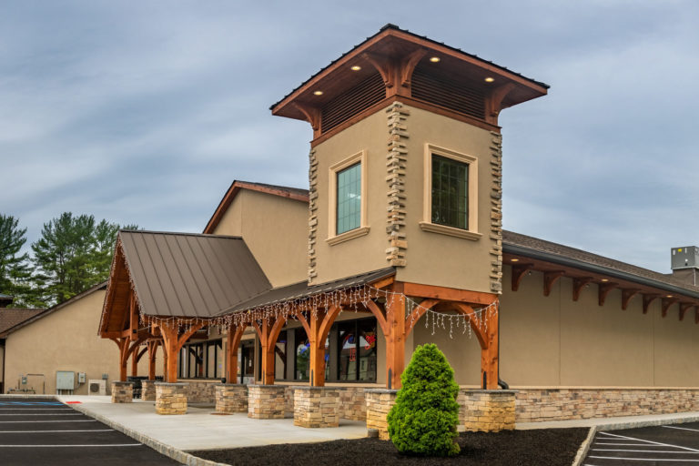 A storefront with timber frame construction in New Jersey