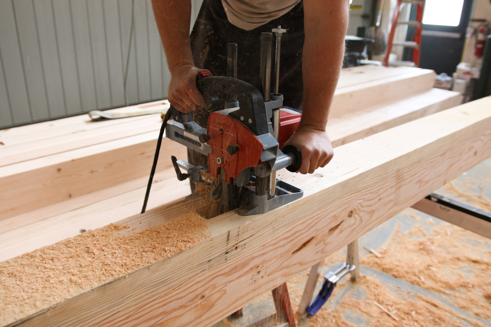 cutting beams for timber frame contruction