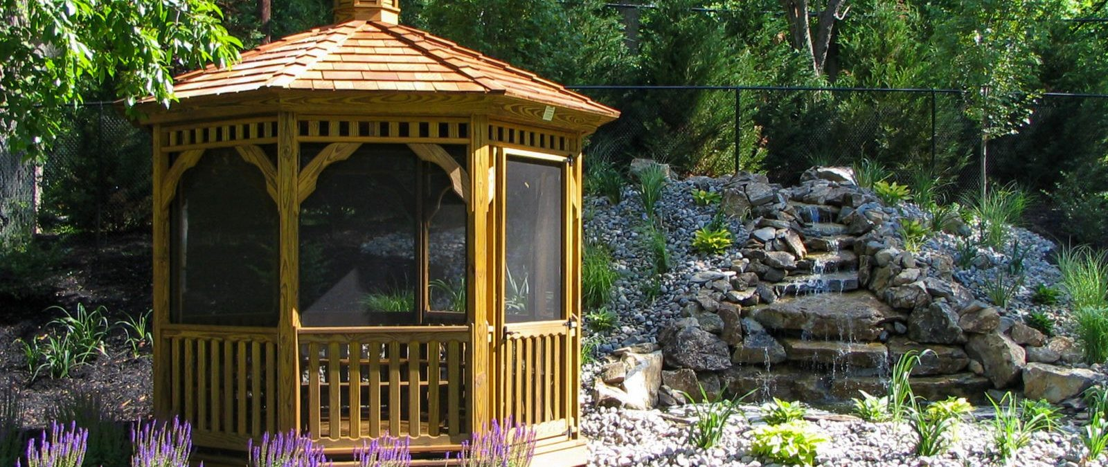 A Permanent Irresistible Wooden Gazebo At The Backyard