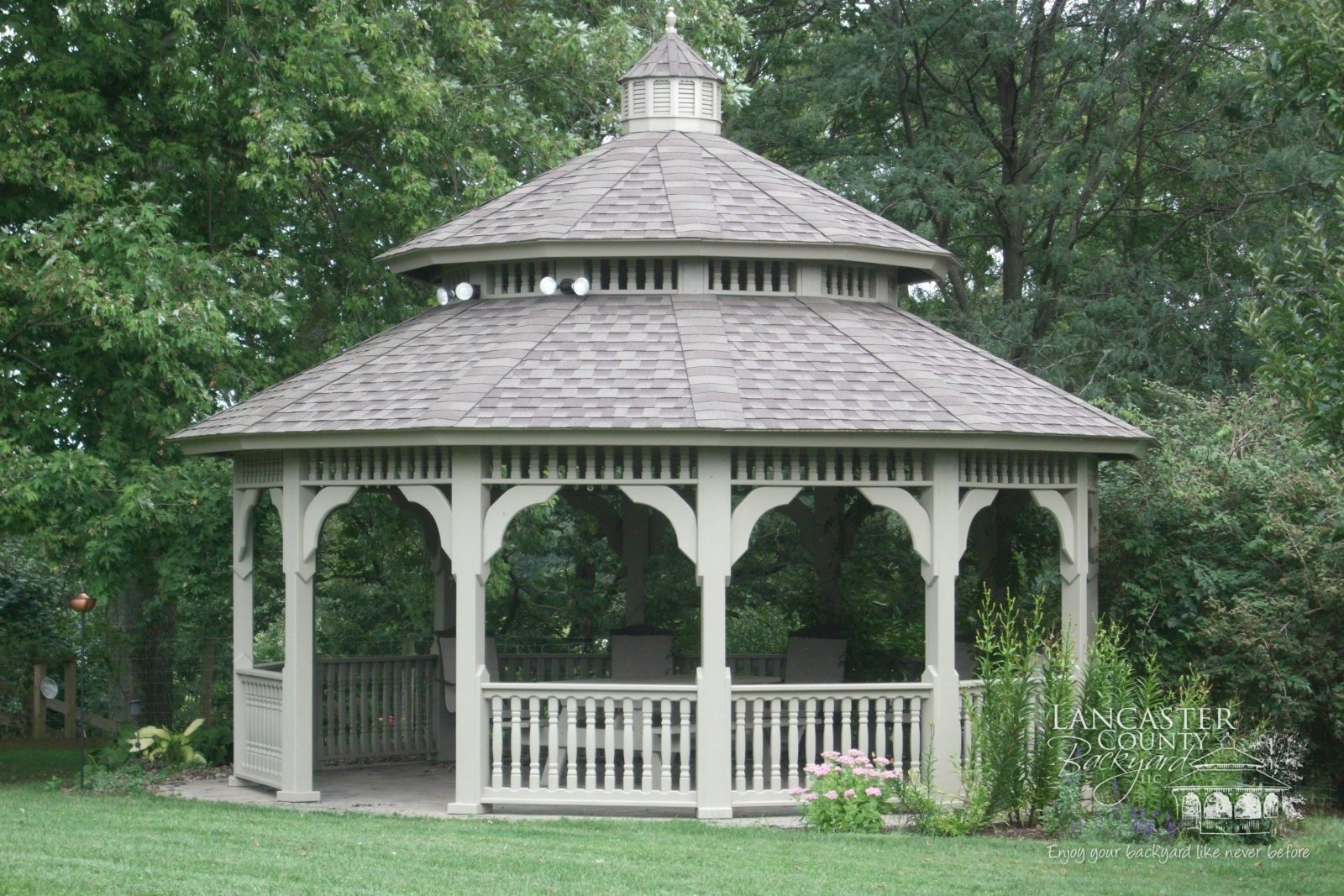 An Irresistible Permanent Gazebo With Asphalt Shingles In The Garden